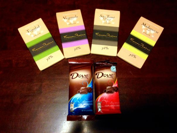 Four single origin Pralus bars with Dove milk and dark chocolate bars. Photo is my own.