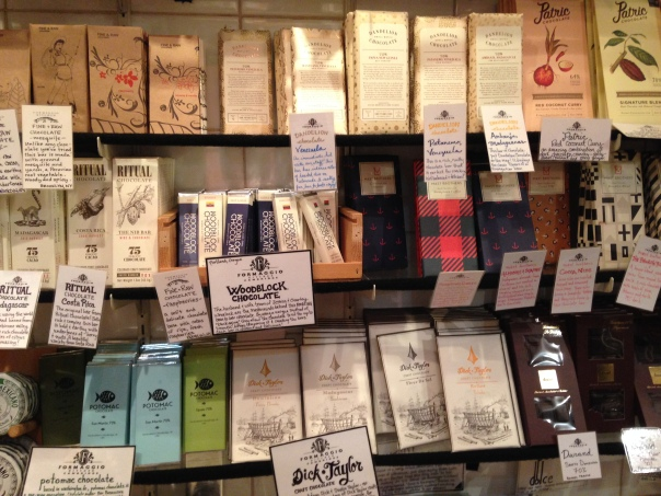 """Craft"" chocolate displayed on shelves at Formaggio's Kitchen in Boston"