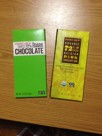 The two chocolate bars, side-by-side
