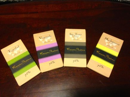 Four single origin Francois Pralus bars, purchased at Cardullo's.  Photo is my own.