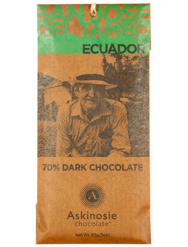 The packaging illustrates the bean-to-bar and direct communication philosophy of Askinosie Chocolate