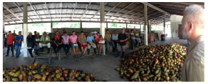 Shawn meeting with his farmer group in Cortes, Honduras to profit share, taste some chocolate, and plan for the next shipment of beans.
