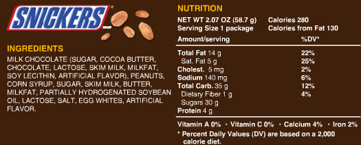 Snickers Chocolate nutrition information includes many artificial ingredients