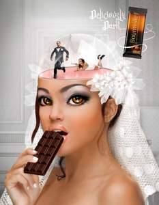 """Bride"" created by Natalie Shau for the 2009 Cadbury Bournville ""Deliciously Dark Thoughts"" ad campaign (Added to show the scope of the campaign)"