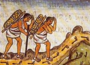 Image of two pochteca in their travels