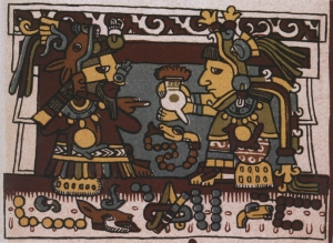 The Mixtec marriage of Lord Eight Deer and Lady Thirteen Serpent, who exchange a cup of chocolate