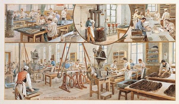 at Lindt & Sprüngli factory in 1900.(PHOTOPRESS/Chocoladefabriken Lindt & Spruengli AG.)
