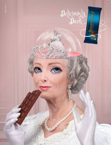 """Deliciously Dark Caramel Crisp"" created by Natalie Shau for the 2010 Cadbury Bournville ""Deliciously Dark Thoughts"" ad campaign (Added to show the scope of the campaign)"