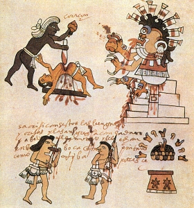 Depiction of Aztec sacrifice from the Codex Tudela