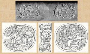 Art depicting Maize God as cacao tree.