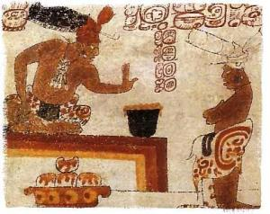 Mayan Lord featured with a frothy cacao drink (Chocolatl)