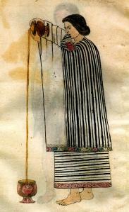 Aztec Woman Pouring Chocolate - Codex Tudela