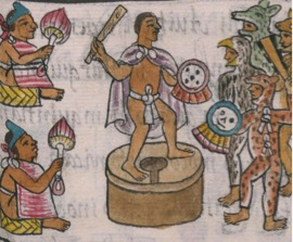 In this image of a pochteca merchant, from the General History of the Things of New Spain by Fray Bernardino de Sahagún, one can see how the merchent is armed with what looks like a club and shield in order to defend himself.
