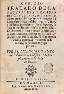 Title page from Colmenero's Curioso Tratado de la Naturaleza y Calidad del Chocolate