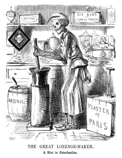 Taken from the British magazine 'Punch' in 1858, this cartoon shows a medicine being adulterated with Plaster of Paris and Arsenic. It reflects the fear in the UK of adulteration during this time period.