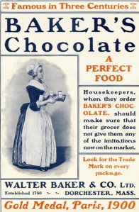 Baker's Chocolate Advertisement with branding
