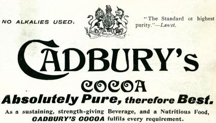 An advertisement by Cadbury for their  'Cocoa Essence' from 1897. It shows how they treated the purity of their chocolate as its main marketing tool in the late 1800's