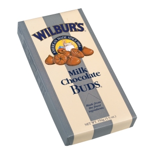 The competition: Wilbur's Buds, like Kisses, were small bite-size pieces of chocolate, though, noticeably not individually wrapped.
