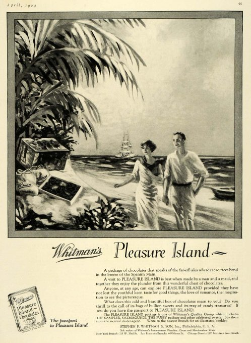 """1924 Advertisement for Whitman's Pleasure Island Chocolate Beach Palms,"" Period Paper"