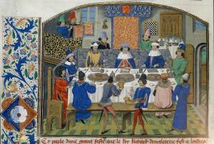 An illuminated manuscript of a royal feast in late 15th century