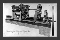 This is a drawing of a steam powered sugar mill that would have been prevalent in the mid-1800s. After using this mill to crush sugar cane waste produced by these machines was often used as fuel in the next phase of the production process.