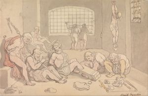 This Drawing from Thomas Rowlandson depicts the accused in the Spanish Inquisition- a sight nobility would watch while enjoying chocolate!