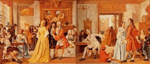 This scene depicts one of Britain's many coffee houses where commoners enjoyed coffee and formed new political parties.