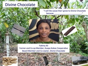 Despite lacking in anything resembling aesthetic value, this response attempts to present cacao farmer Fatima Ali explicitly as both producer and consumer, respecting her agency as an active participant in the Divine Chocolate enterprise.