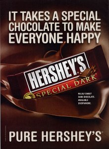An advertisement for Hershey's Special Dark Chocolate Bar