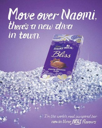 A 2011 Cadbury advertisement that refers to Naomi Campbell, an English supermodel.