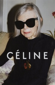 Joan Didion in an ad for Céline, a high-end fashion brand