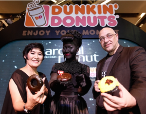 An event advertising the Charcoal Donut from Dunkin Donuts in Thailand