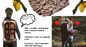 """A sad chocolate man ponders """"What could be better than me?"""" As he looks at a happy couple."""