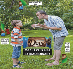 This is the new advertisement for Dove chocolate that we created to eliminate the themes of sexuality and romance from the original commercial.  This image still advertises the Dove product, without relying on those stereotypes.