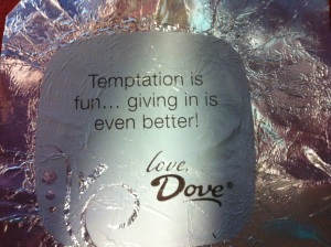 """This is an image of a Dove wrapper from their individually wrapped chocolates.  Note how the use of the word """"temptation"""" implies the seductive relationship to chocolate."""