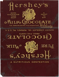 Hershey's Milk Chocolate bar wrapper. From the Hershey Community Archives http://www.hersheyarchives.com/