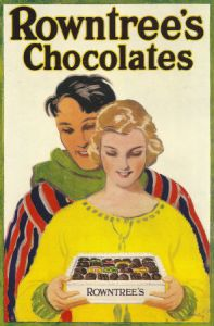 A Rowntree poster from the 1920's showing a women presenting chocolate to her husband