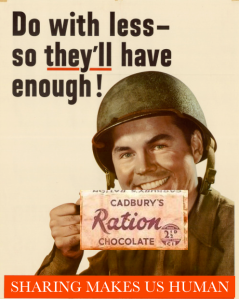 Ration poster featuring chocolate's use during WWI