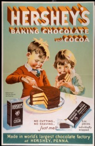 In this chocolate ad from the 1930s, the children are helping with baking, a responsibility typical of the mother