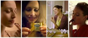 Images from various commercials showing women eating chocolate
