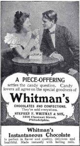 1901 advertisement of Whitman's chocolate