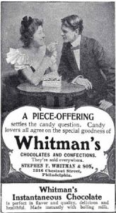 1901 advertisement of Whitman's chocolate