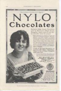 1913 NYLO Chocolates Advertisement