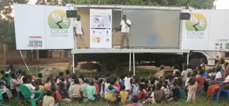 The above image is of the Cocoa Horizons truck.  The sides of the truck open to become a stage where the Barry Callebaut representatives engage the cacao farmers.