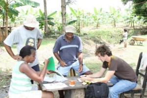 Dan Rattigan planning with Costa Rican cacao farmers. [retrieved from http://frenchbroadchocolates.com/cacao-farm/daniel-souths-fermentary/]