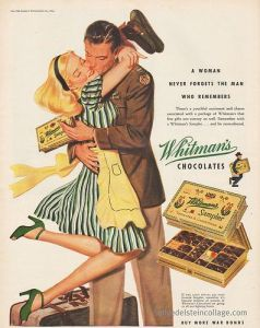 Chocolate ads became more romanticized in the 1940's and 1950's
