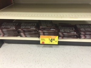 Large amounts of Hershey's bars at Star Market, a pack of six bars costs half the price of one Mast Brothers bar.