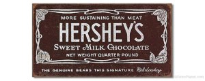 Bar wrapper for Hershey's Milk Chocolate bar. ca. 1912-1926