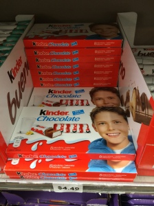 The Kinder kid. Young blue-eyed, Caucasian boy featured as the target consumer of chocolate. Photograph by Antonia Hylton