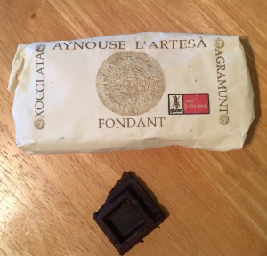 This roughly processed Aynouse L'Artesa Fondant 65% bar is made from cocoa paste, sugar cane, and cocoa butter, according to the label. We tasted it fourth. Photo by the author.